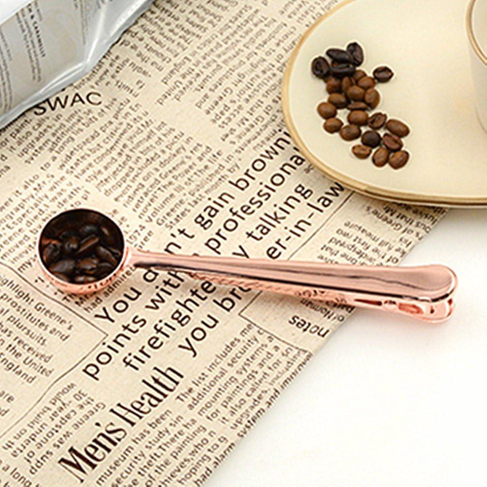 Simplife leche en polvo Cuchara de caf/é de acero inoxidable con clip de cierre para bolsa de caf/é t/é y harina de avena ideal para cesta de regalo.