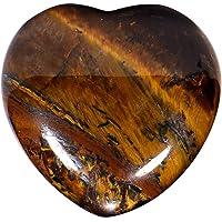 Morella Pierres précieuses en forme de cœur Oeil de tigre Ange porte bonheur ange gardien à emporter partout 3 cm dans un sac de velour