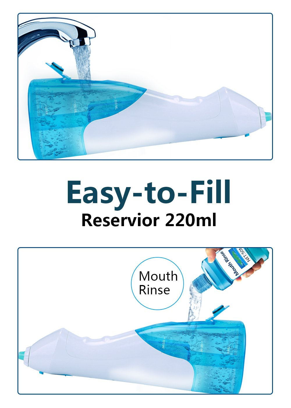 QQcute Water Flosser Cordless Oral Irrigator - IPX7 Portable Rechargeable Tooth Cleaner Whitening With 3 Modes Dental Water Jet Tips, Travel and Home Use by QQcute (Image #7)