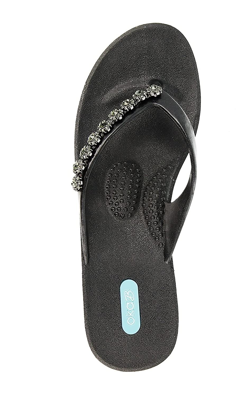 0d8fc68886633 on sale Lillia Flip Flop Wedge Sandal Shoes by OkaB Color Licorice ...