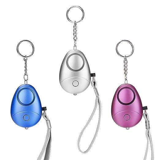 3 Pack llavero con luz LED de alarma personal, 130 dB de ...