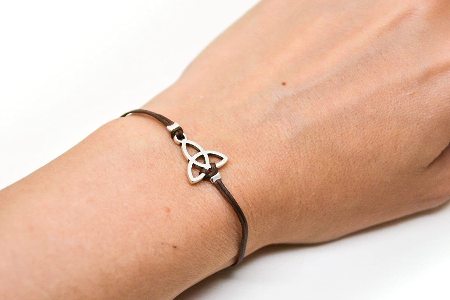 Trinity bracelet, bracelet with silver Triquetra charm, celtic knot, brown cord, valentine gift for her, yoga bracelet, spiritual jewelry
