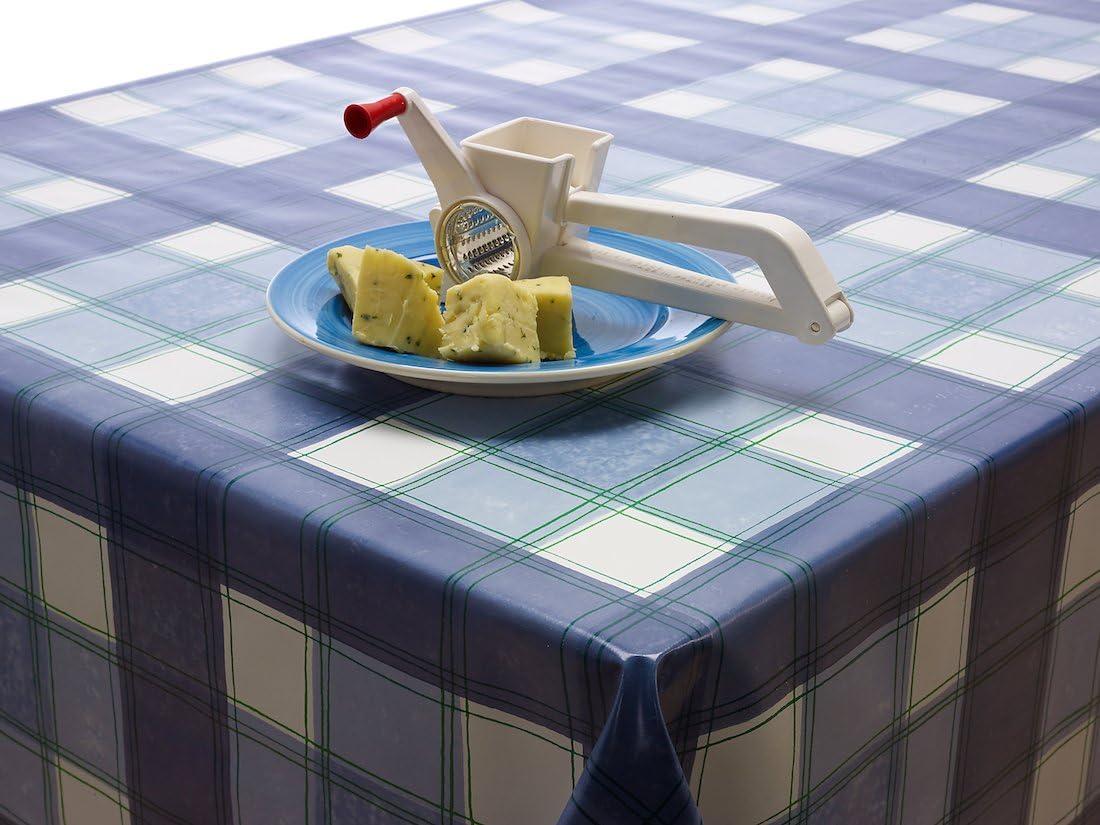55 Blu quadrettato in vinile PVC Wipe Clean tondo quadrato o rettangolare Round 140cm