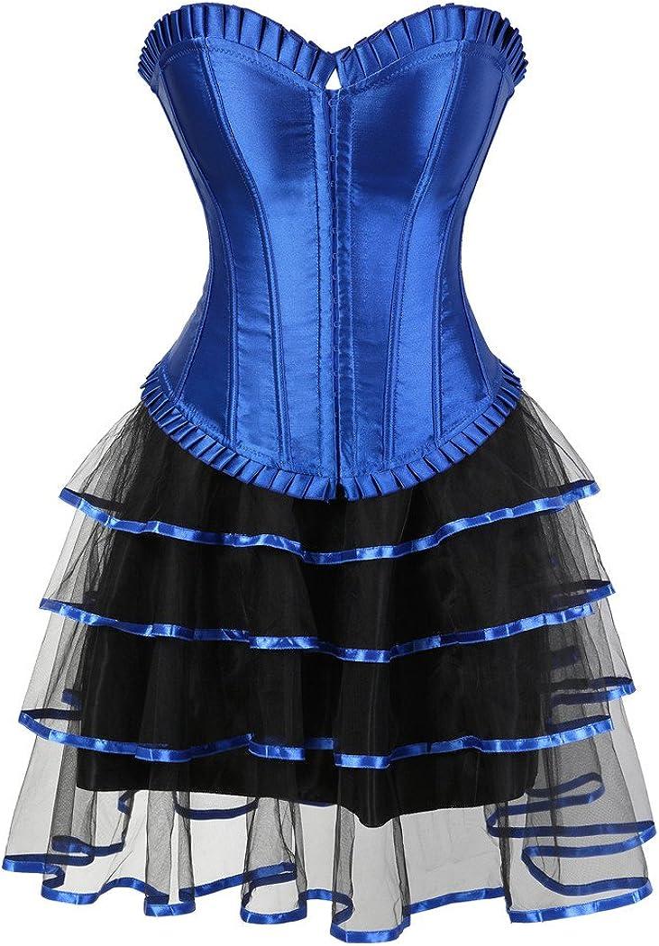 Rosfajiama Falda gótica de Encaje con corsé Moulin Rouge Showgirl ...