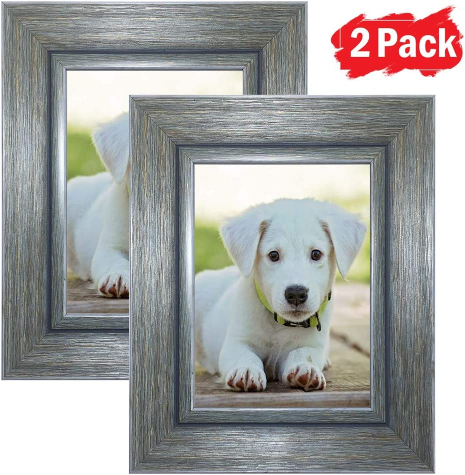 DY Frame 4x6 Picture Frame Vintage Green-Gray Rustic Home or Office Decor | Vertical or Horizontal Tabletop Stand or Wall Mounting | Baby, Pet, or Family Photos, Diploma