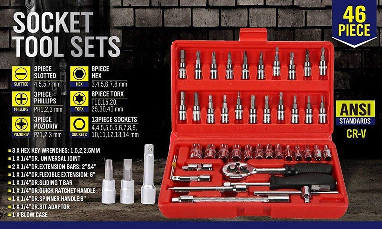 "46 Pieces 1//4 /"" Drive Socket Ratchet Wrench Bit Bits Repair Tools Tool Kit Auto"
