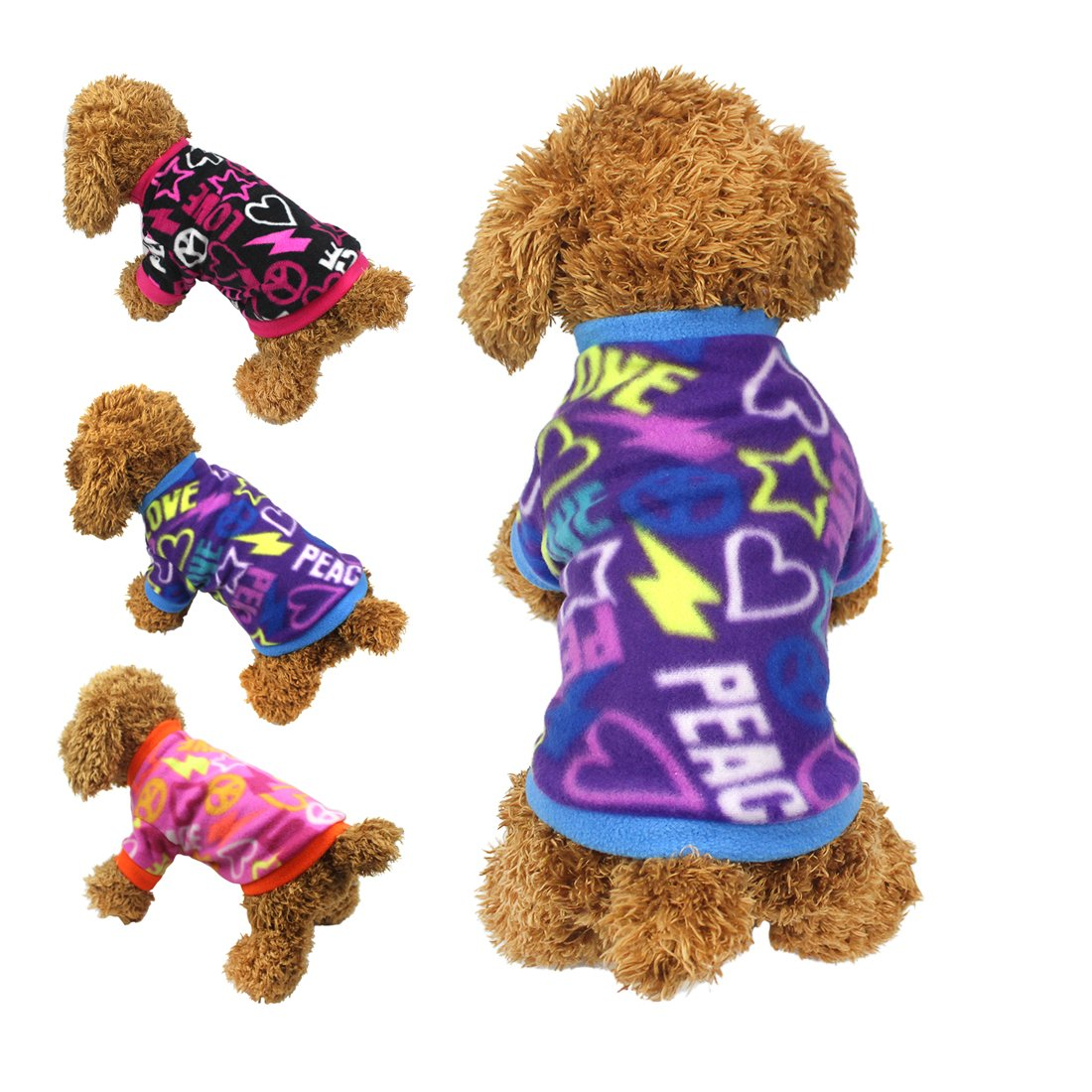 Vêtements Idepet pour animal domestique style graffiti doux en polaire pull manteau pour petit chien chiot chihuahua caniche mâles et femelles