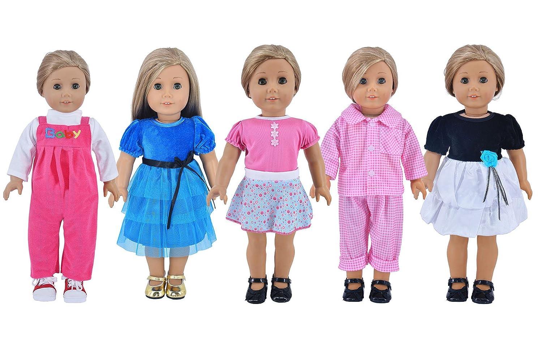 Amazon.com: Ebuddy 5-sets Ramdon Style Doll Clothes Party Dress ...
