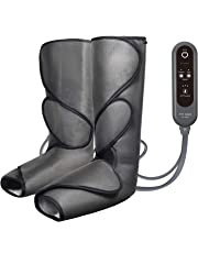 FIT KING Air Compression Leg Massager for Foot and Calf Circulation Massage with Handheld Controller 2 Modes 3 Intensities (Dark Gray)