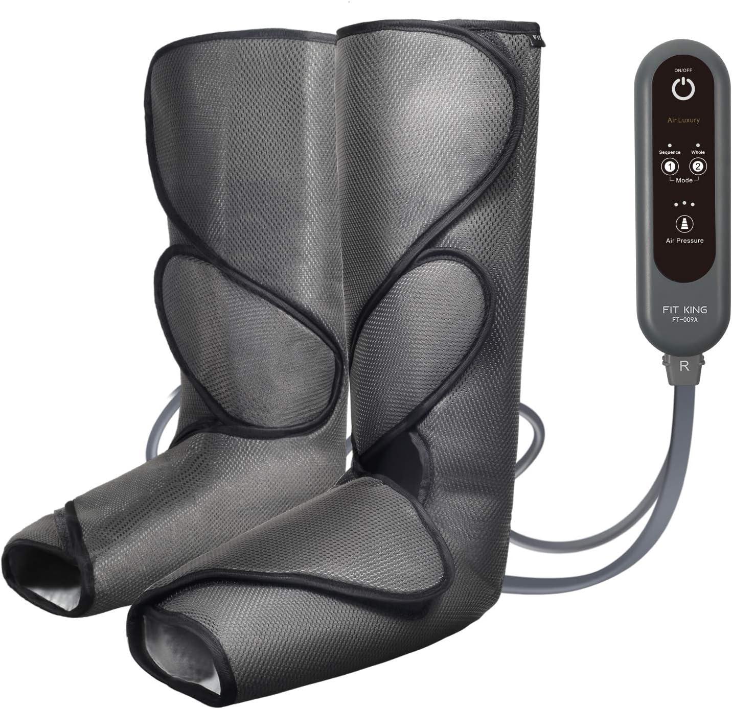 FIT KING Masajeador de Pies y Piernas con 2 Modos y 3 Intensidades de Compresión de Aire Útil para la Circulación Corporal y la Relajación (con 2 Extensiones)