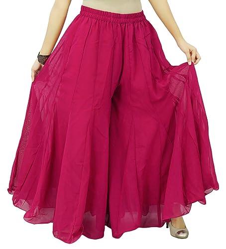 Elástico de la cintura anchas de las mujeres del desgaste de los pantalones sólidos Palazzo Georgett...