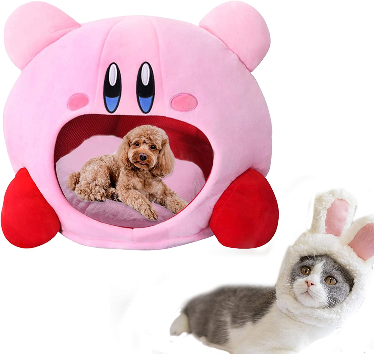 Amazon Com Puppy Pet Cat Dog Soft Nest Dog Bed Cute Kirby Plush Small Pet House Sleeping Mat Pet Supplies Beds For Medium Cats Pet Supplies