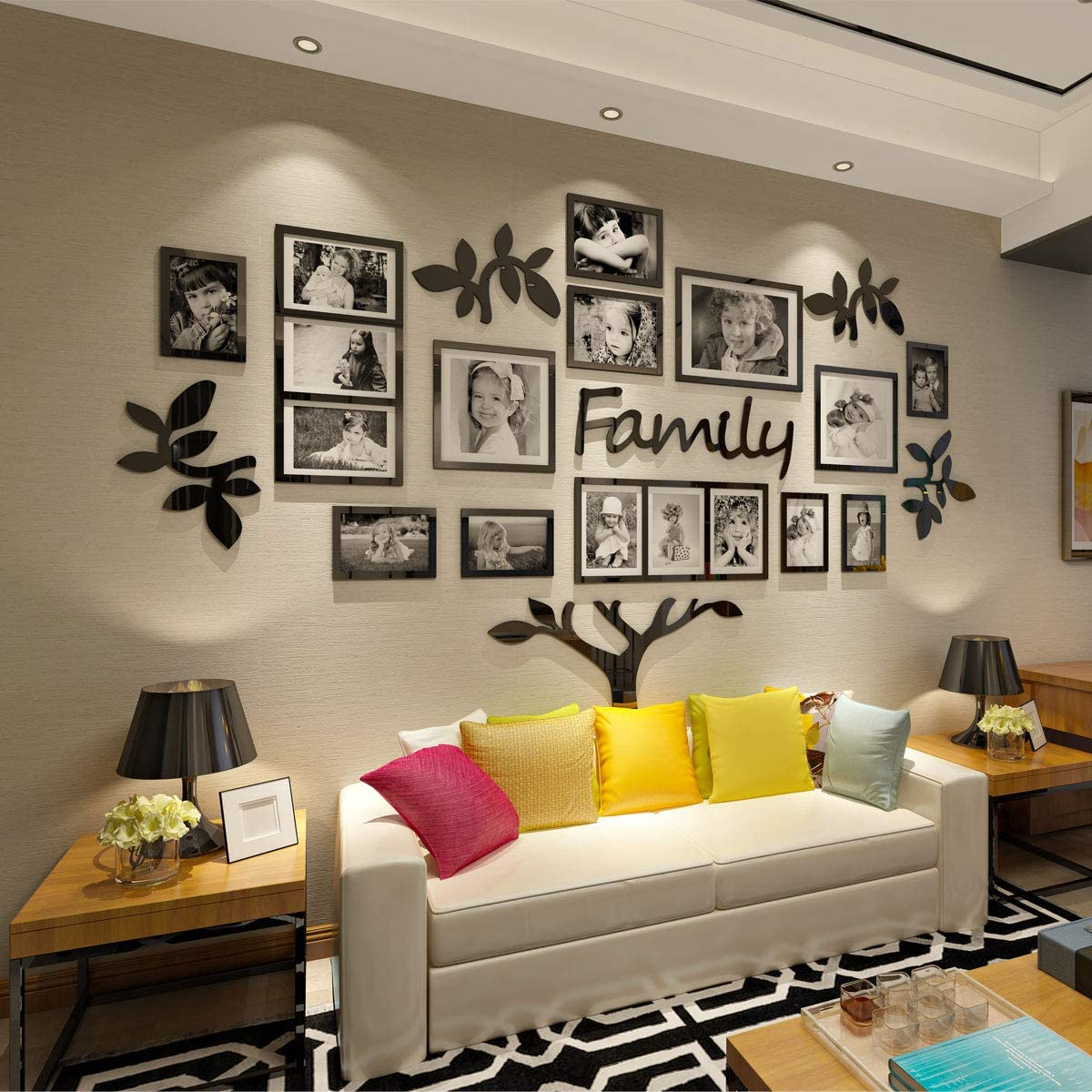 CrazyDeal Family Tree Wall Decal Picture Frame Collage 23D DIY Stickers  Decorations Art for Living Room Home Decor Gallery Large