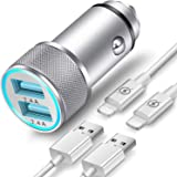 TIKALONG Car Charger Compatible with iPhone 11/12 /XR/XS/X/Pro Max 8/7/6/6S Plus 5S/5C/SE2, iPad Air Mini Pro (2.4A Dual…