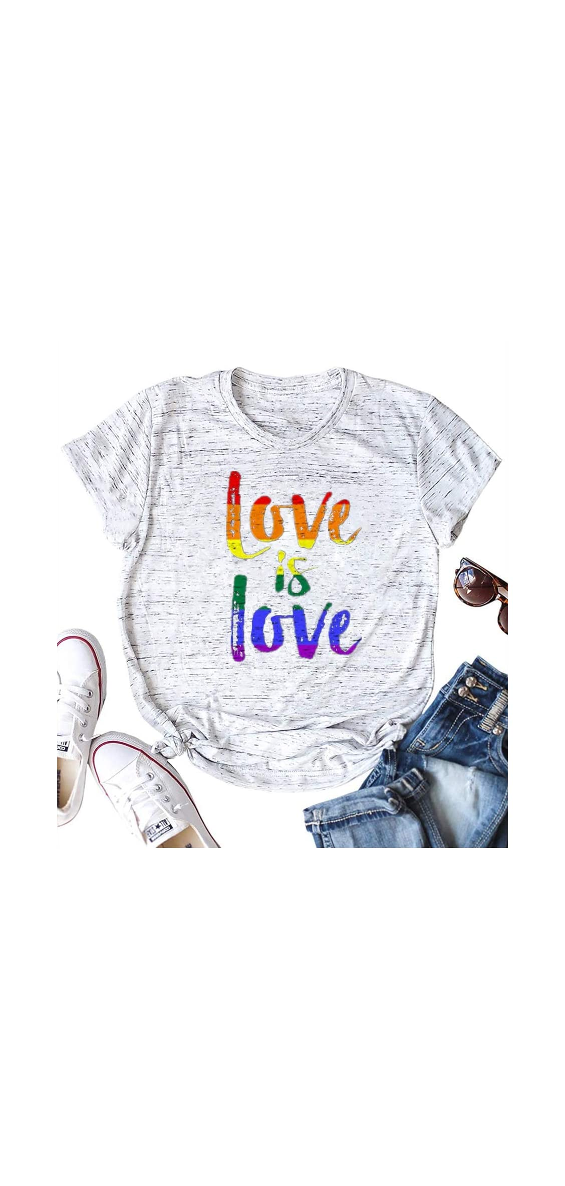 Love Is Love Rainbow Gay Pride Shirt Womens Graphic Summer T
