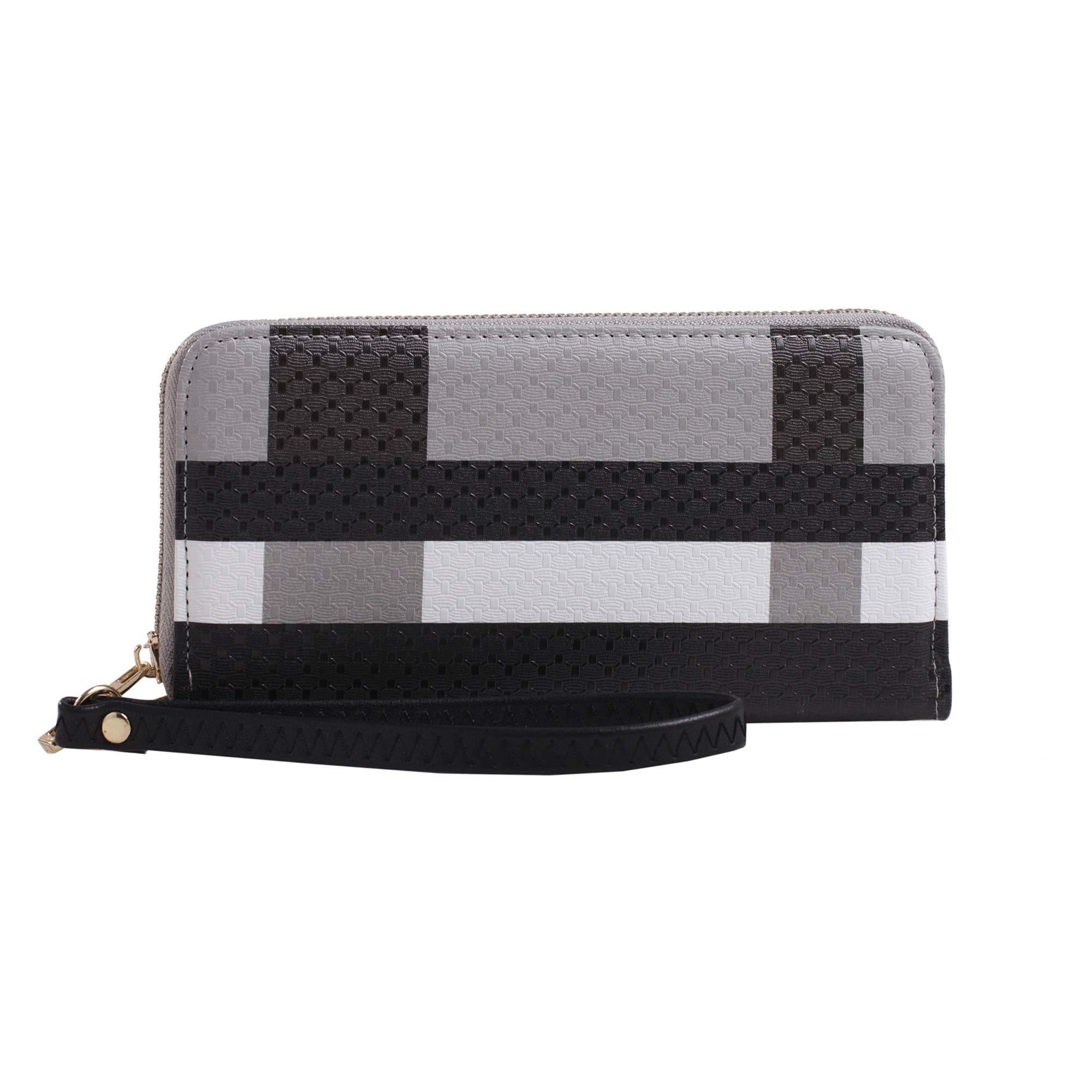 Plaid Travel Zip Around Zipper Wristlet Wallet Long Clutch Purse Wrist Strap