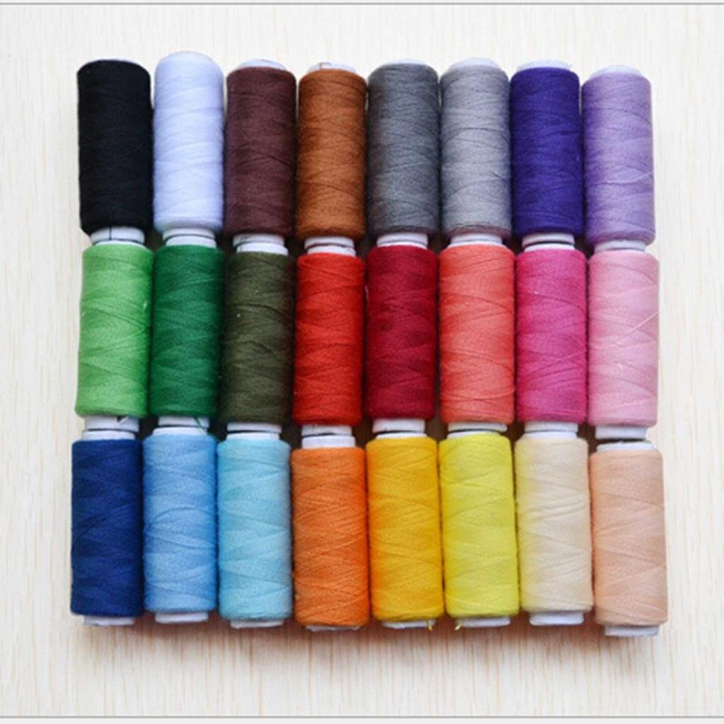 HuaYang Home Sewing All Purpose Kit Cotton Thread Reel Assorted Colors, 24 Spools