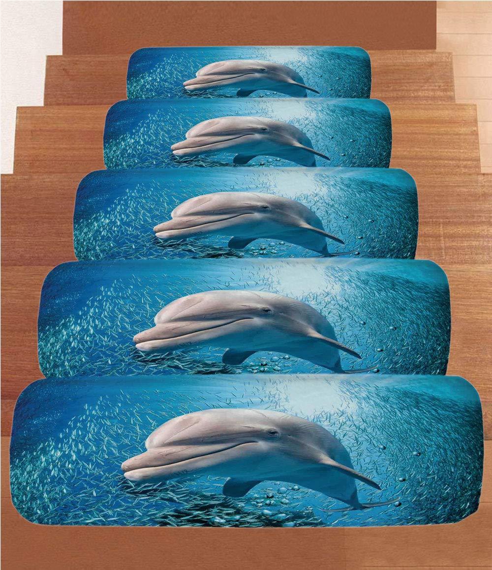 Non-Slip Carpets Stair Treads,Sea Animals Decor,A Bottlenose Dolphin in Ocean Fish Sunlight in Marine Natural Underwater,Blue Grey,(Set of 5) 8.6''x27.5''