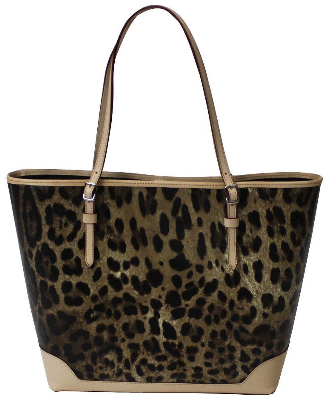 Italian Leopard Large Women's Tote Bag Size Medium