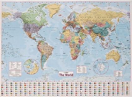 Collins World - Mapa de pared (101,6 x 137,1 cm): Amazon.es: Oficina y papelería