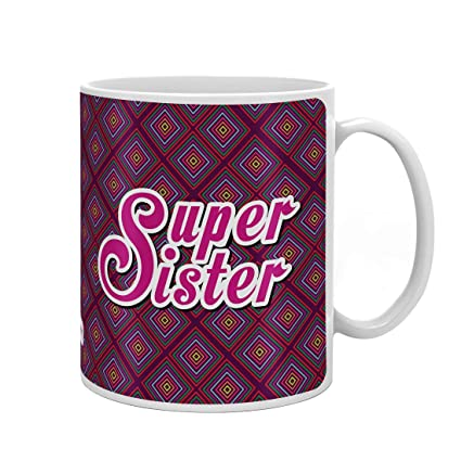 Indigifts Raksha Bandhan Gifts For Sister Super Sis Quote Purple Coffee Mug 330 Ml