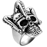 Amazon Price History for:Flongo Men's Punk Stainless Steel Silver Black Gothic Joker Clown Band Ring