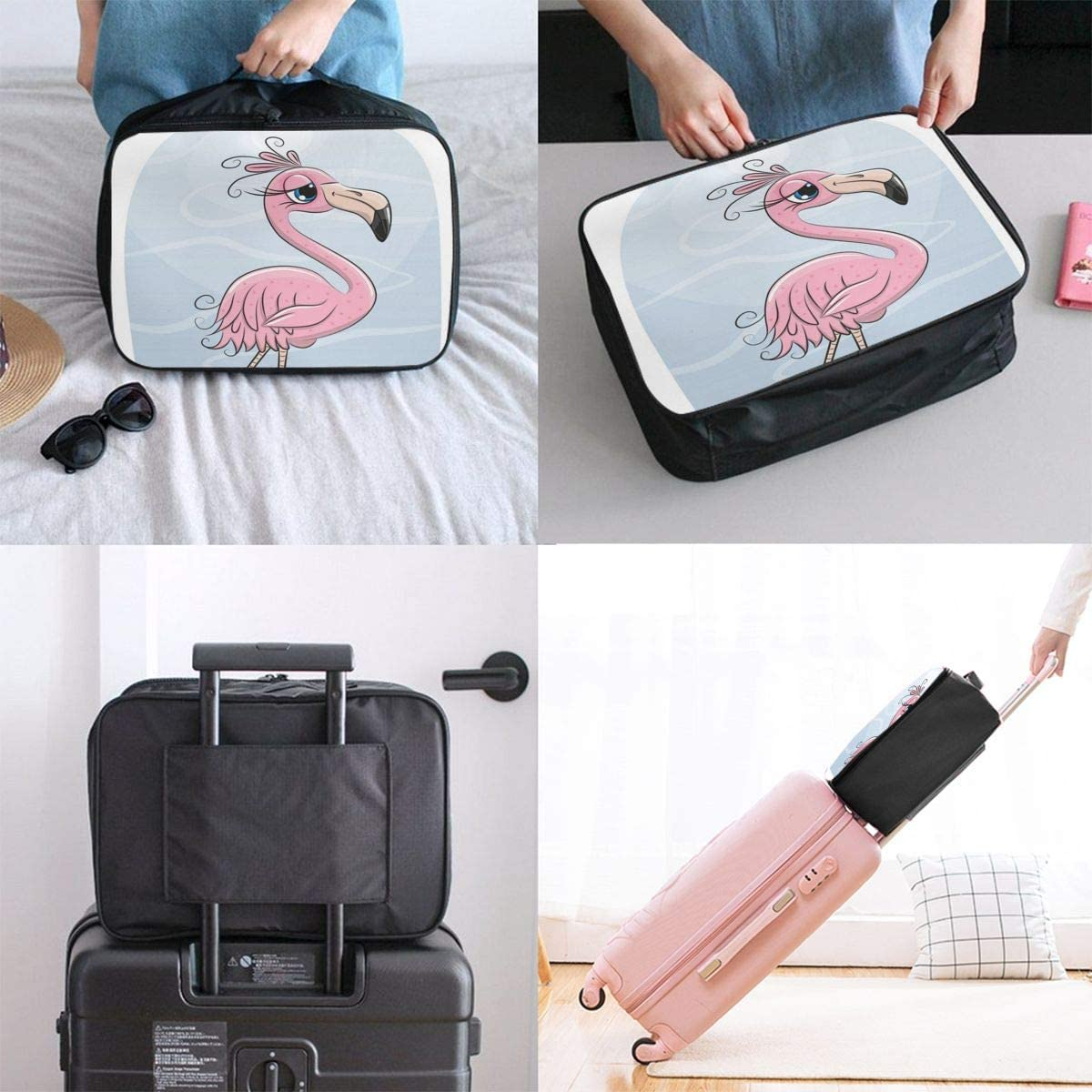 Yunshm Cartoon Flamingo On A Beach Vector Image Personalized Trolley Handbag Waterproof Unisex Large Capacity For Business Travel Storage