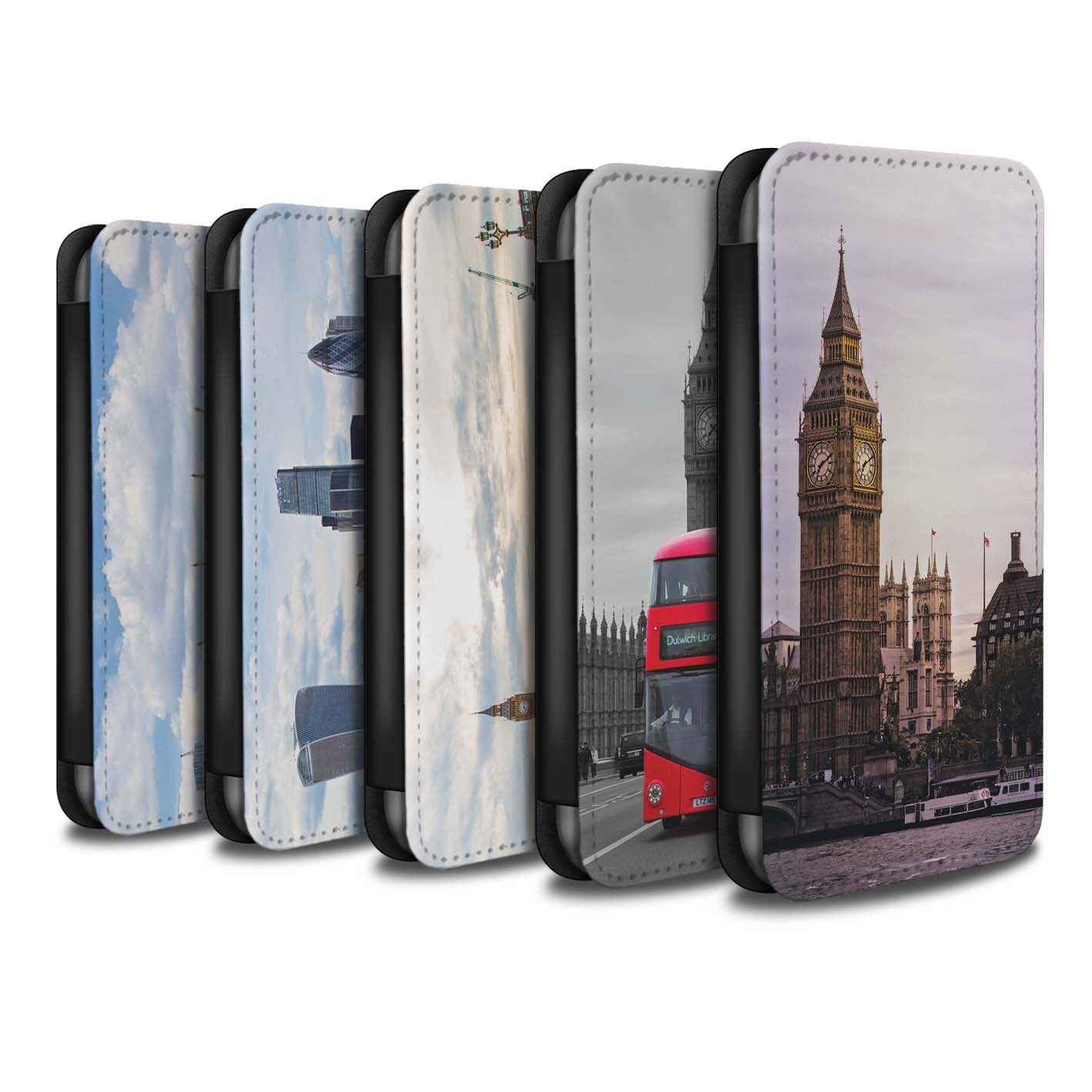 STUFF4 PU Leather Wallet Flip Case/Cover for Apple iPhone X/10 / Pack 14pcs Design / London Sites Collection
