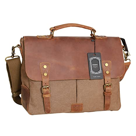 d271400dd2 Amazon.com  WOWBOX Messenger Bag Satchel Vintage Canvas Leather 13 ...