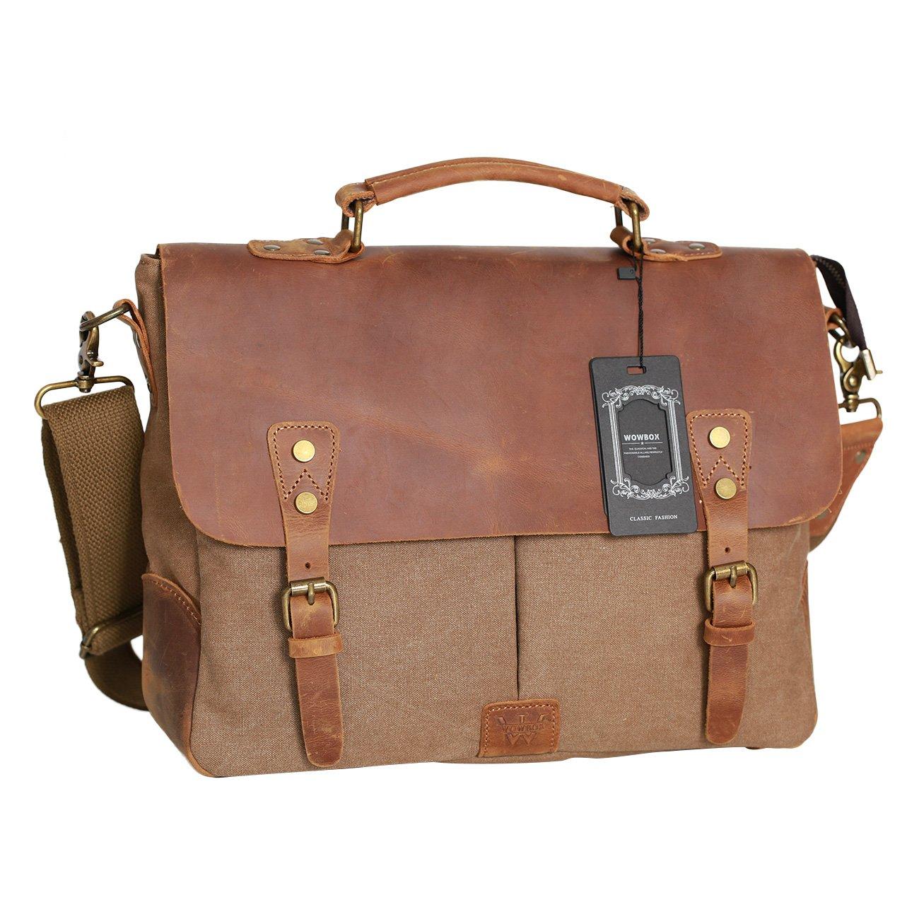WOWBOX Messenger Bag Satchel Vintage Canvas Leather 13''(L) x10.5''(H) x 4.1''(W) (Coffee)