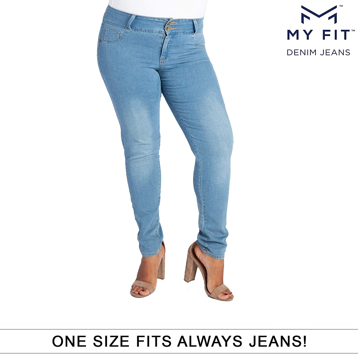 fdea0ba2453 Amazon.com  My Fit Jeans- SIZE 14-20 LIGHT WASH  Women s Stretch Denim Jeans  with Pockets and the Comfort of Leggings
