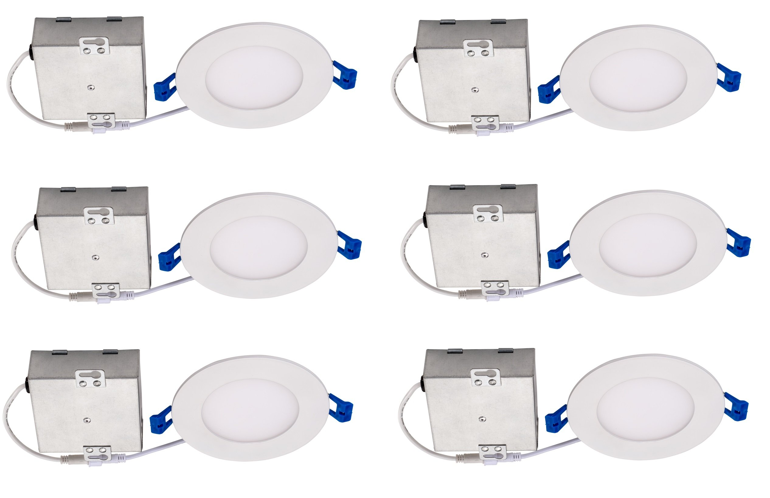 Topaz Lighting (Pack of 6) 77229 9W Slim 4'' Dimmable Recessed Ceiling Downlight, 3000K, White, Easy to Install, Save Time and Money, Energy Efficient LED Lighting