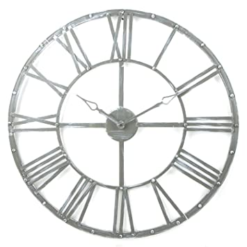 Large metal vintage style wall clock diameter 70cm Colour GREY