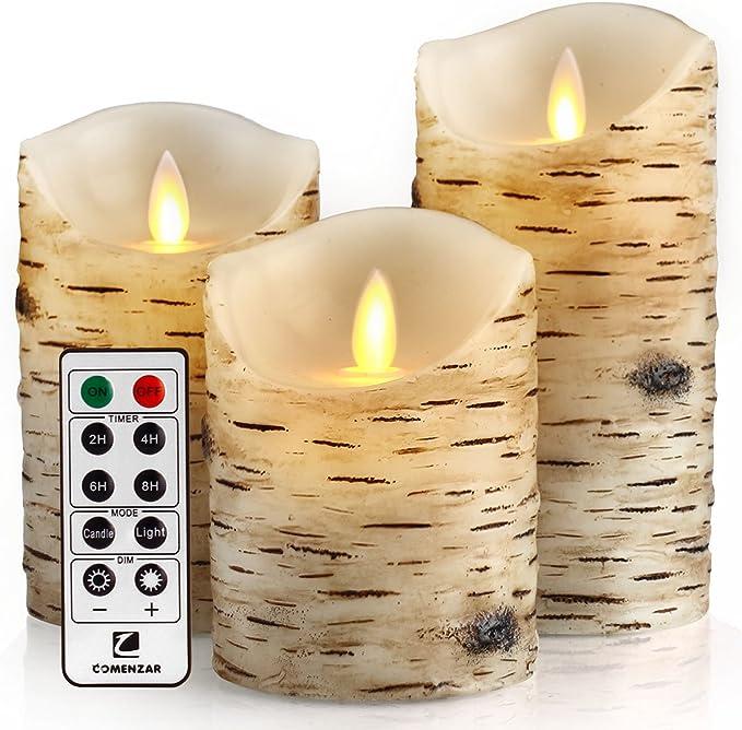 Comenzar Flickering Candles, Candles Birch Set of 4 5