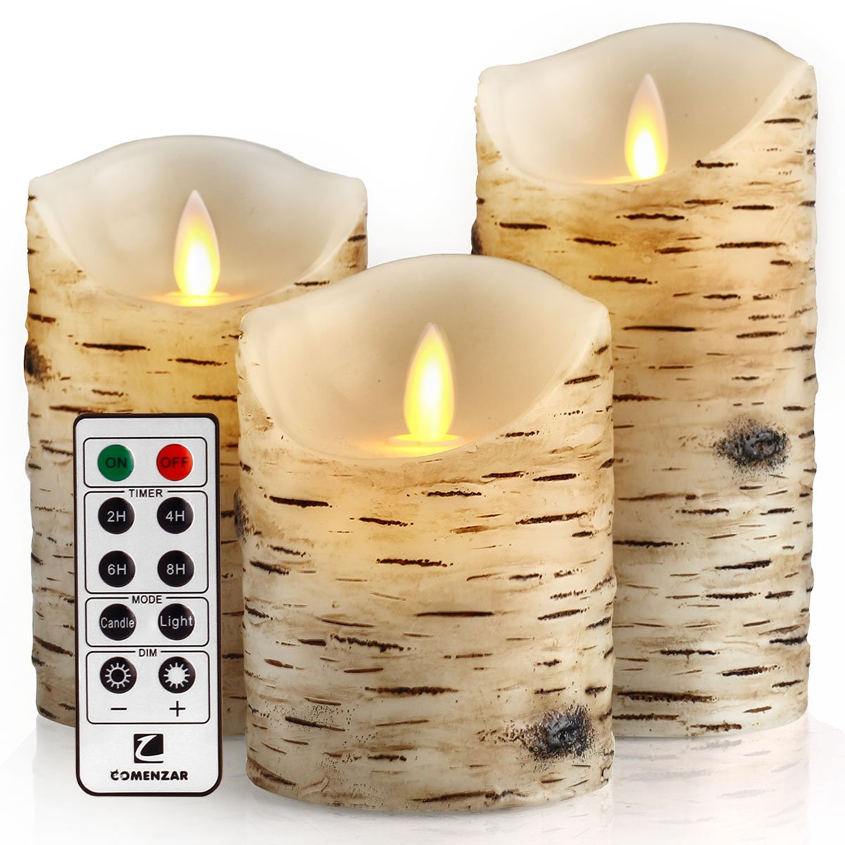 comenzar Flickering Candles, Candles Birch Set of 4 5'' 6'' Birch Bark Battery Candles Real Wax Pillar with Remote Timer