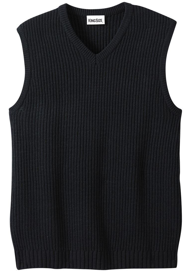 KingSize Men's Big & Tall Shaker Knit V-Neck Sweater Vest, Black Tall-4Xl