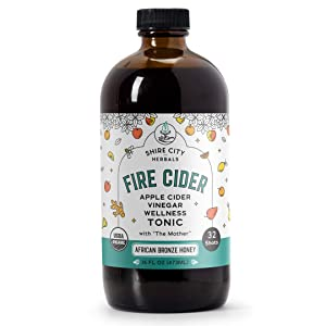 Fire Cider, Tonic, 16 oz, African Bronze flavor, 32 Daily Shots, Apple Cider Vinegar, Whole, Raw, Organic, Not Heat Processed, Not Pasteurized, Not Diluted, Paleo, Keto, Whole 30.