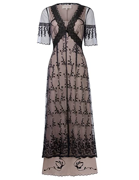 Cottagecore Clothing, Soft Aesthetic Belle Poque Steampunk Gothic Victorian Lace Maxi Dress Half Sleeve BP000247 $39.89 AT vintagedancer.com
