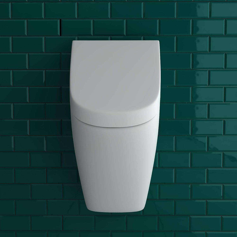 incluye material de fijaci/ón VitrA WC Retro urinario de cer/ámica sanitaria de alta calidad con tapa en color blanco set completo de urinario Pissoir entrada y salida de la parte trasera
