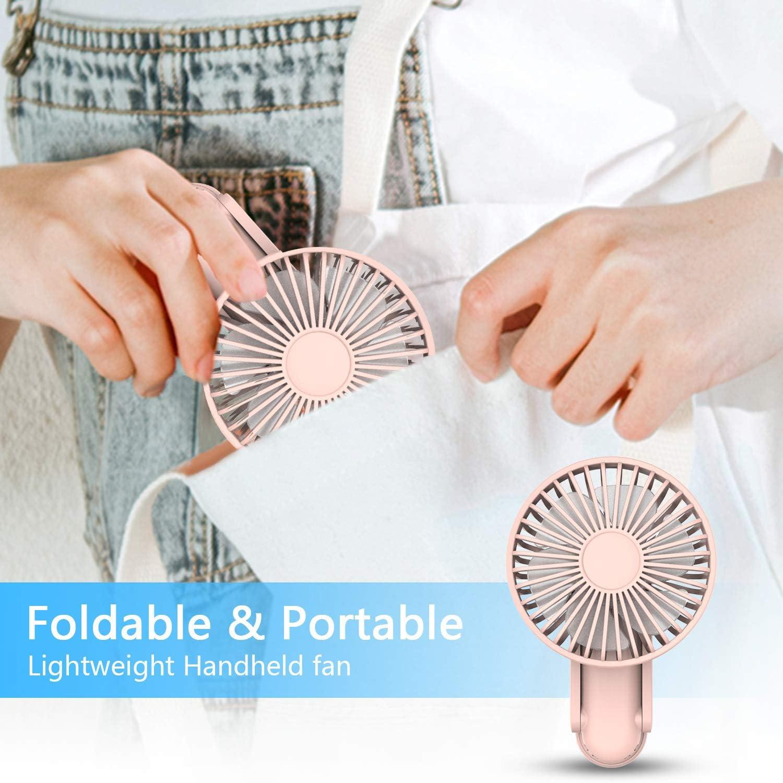 Foldable Mini Handheld Fan, ITSHINY Portable Fan, Desk fan, Table Cooling Fan 3 Speeds USB Rechargeable Fans for Home Travel Sport Outdoor Camping Office Pink