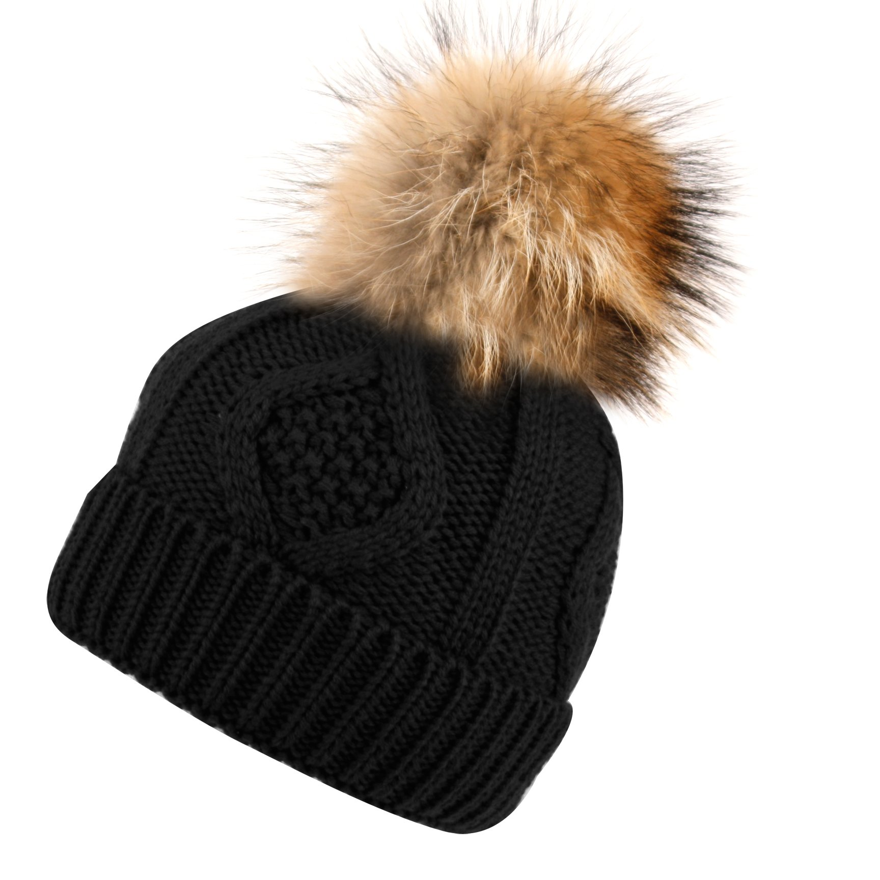 BN2355 Solid Cable Knit Real Raccoon Fur Pom Pom Skull Cap Hat Beanie (BLACK)
