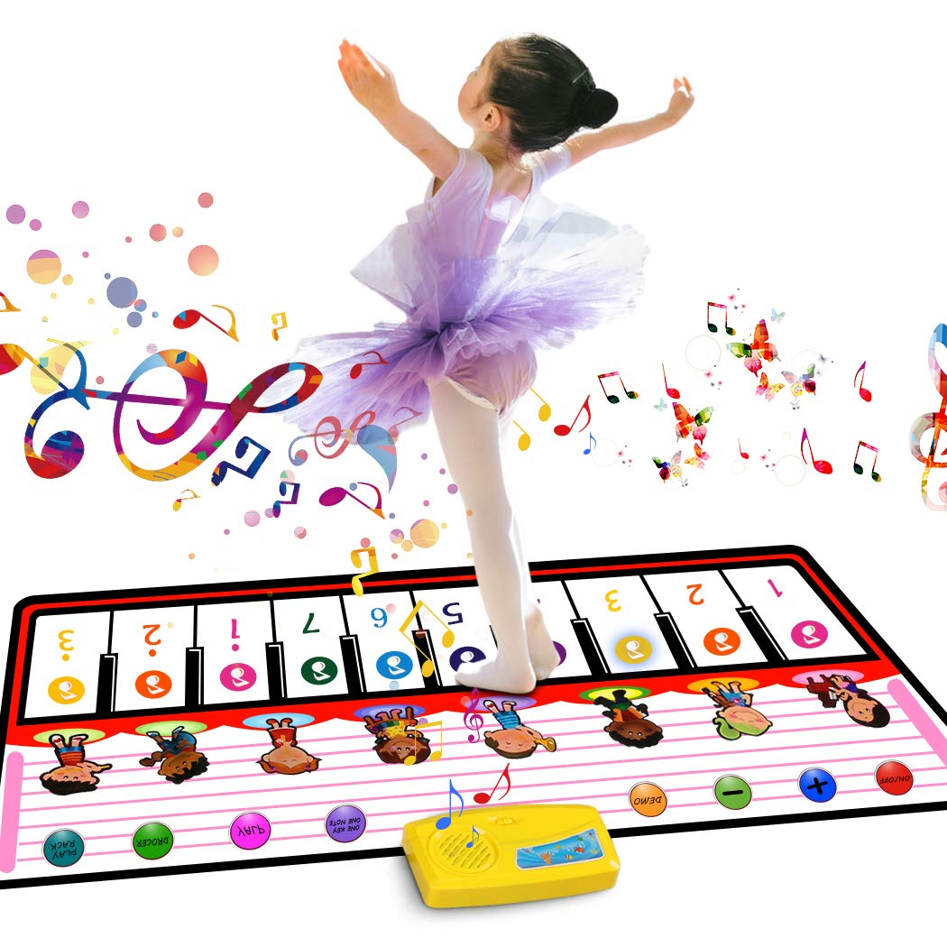 Tencoz Musical Piano Mat, Kids Portable Piano Keyboard Mat 8 Different Musical Instruments Build-in Speaker & Recording Function with 10 Melodies Educational Toy Best Gift for Kids Baby