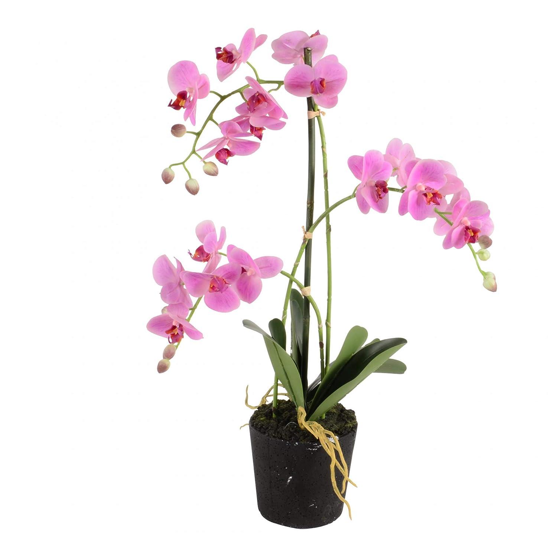 Orchidee 70cm rosa Deko künstliche Orchideen Topf Blumen Kunstpflanze Kunstblume