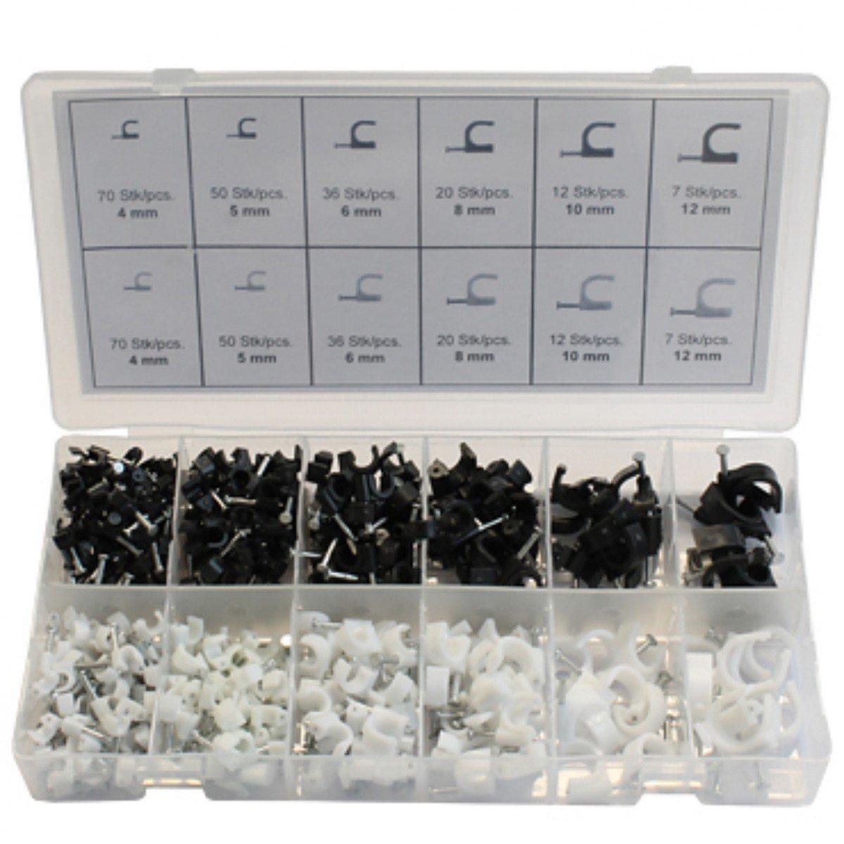 Nagelschellen 4-12mm Kunststoff 390tlg Sichtbox Kabelschelle Kabelklemmen