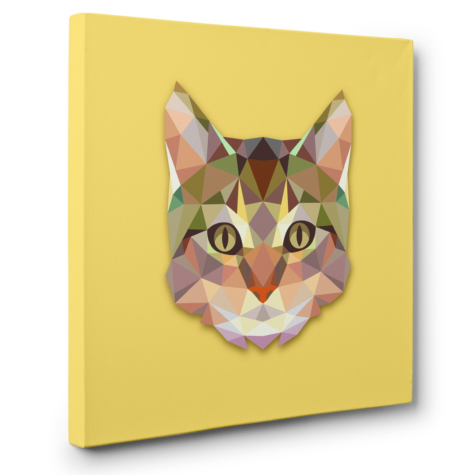 Polygon Cat Yellow CANVAS Wall Art Home Décor