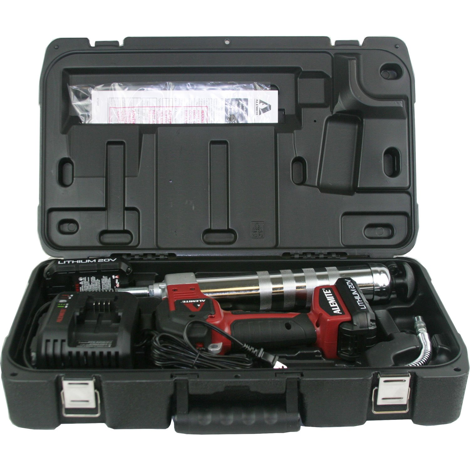 Alemite 596-B 20-Volt Lithium-Ion 2-Speed Cordless Grease Gun Kit with LCD