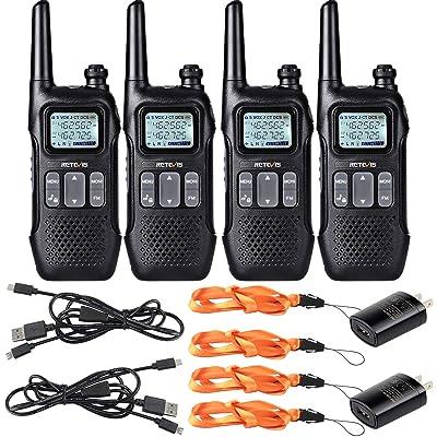 Retevis RT16 Walkie-Talkie Rechargeable FRS NOAA Weather Alert Emergency FM Flashlight Dual Watch VOX 2 Way Radio Long Range(4 Pack): Car Electronics