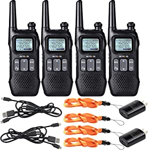 Retevis RT16 Walkie-Talkie Rechargeable Adult,Long Range 2 Way Radio,NOAA Emergency FM Flashlight Dual Watch,for Outdoor Cruise Bike Hike Camp(4 Pack)
