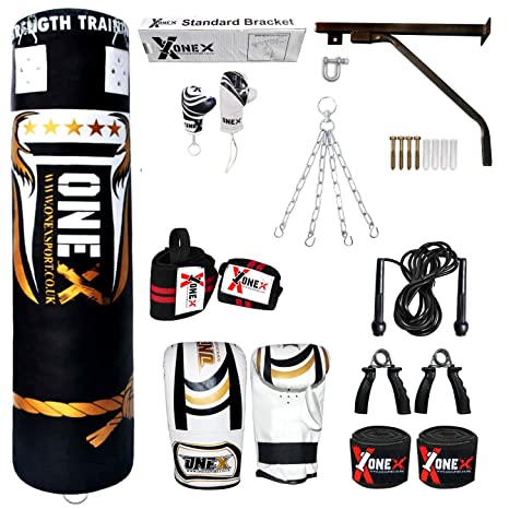 Heavy Filled 15 Piece 5ft Boxing Punch Bag Set Gloves Bracket Punching Gloves Chains MMA Pad