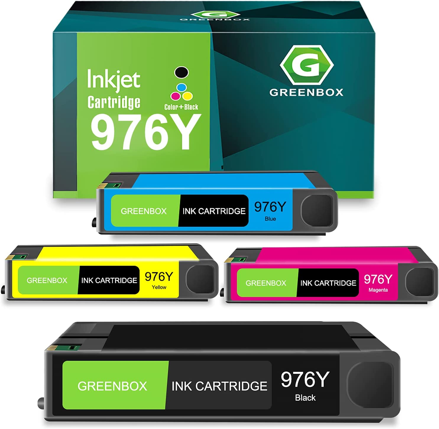 GREENBOX Remanufactured Ink Cartridge Replacement for HP 976Y 976Y for HP PageWide Pro 552dw 577dw MFP Printer 577z MFP Printer(1 Black 1 Cyan 1 Magenta 1 Yellow)